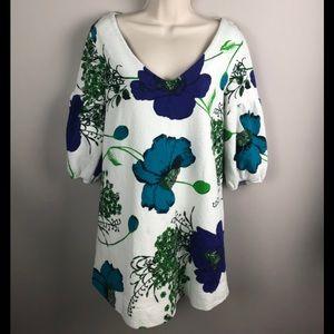 Anthropologie Deletta White Blue Floral Tunic
